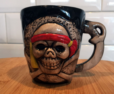 Pirate Skull Skeleton Face Ceramic Mug - Grey & Black